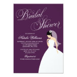 Eggplant Purple Wedding Gown Bridal Shower Card