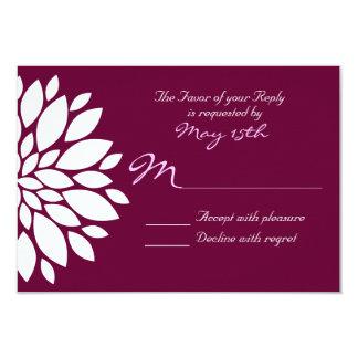 Eggplant Purple White Flower Wedding RSVP Cards