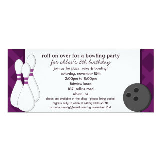 Eggplant Roll on Over Bowling Birthday Part 4x9.25 Paper Invitation Card