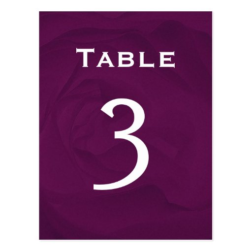 Eggplant Rose Table Number Part of Set of 12 Post Cards