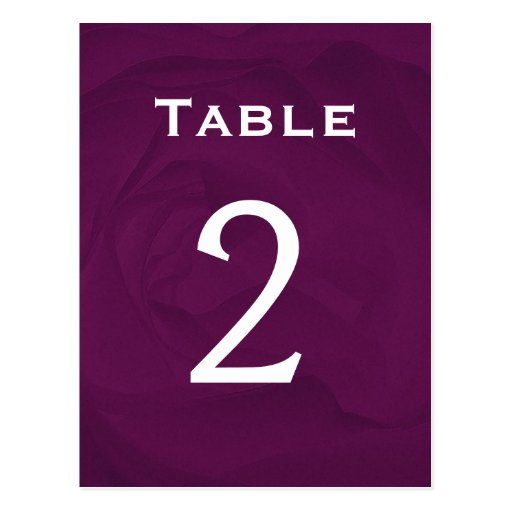 Eggplant Rose Table Number Part of Set of 12 Post Card