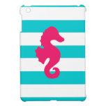 Eggplant Sea Horse on Teal and White Stripes iPad Mini Covers