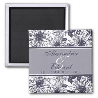 Eggplant Sunflowers Wedding Favor Magnet Gift