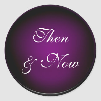 Eggplant Then and Now Classic Round Sticker