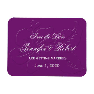Eggplant Tone on Tone Hibiscus Save the Date Magnet