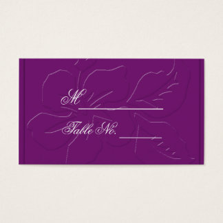 Eggplant Tone on Tone Hibiscus Wedding PlaceCard Business Card