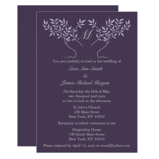 Eggplant Tree of Life Wedding Invitation