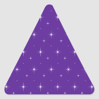 Eggplant, Violet, Indigo And Bright Stars Pattern Triangle Sticker