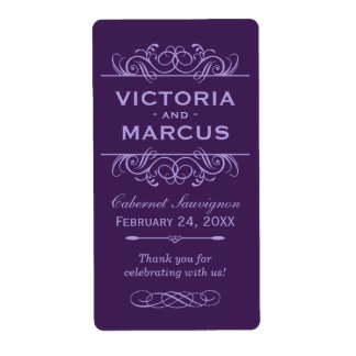 Eggplant Wedding Wine Bottle Monogram Favor Shipping Label