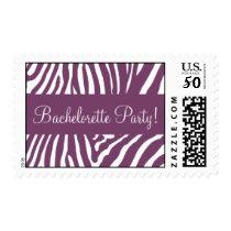 Eggplant & White Bachelorette Party Zebra Postage