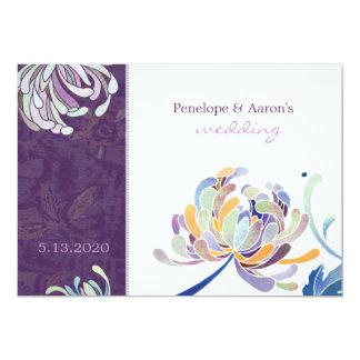Eggplant & White Boho Floral Wedding Card