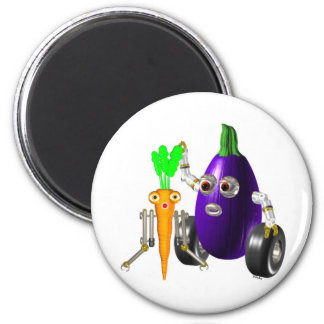 EggplantBot y CarrotBot Imán Redondo 5 Cm