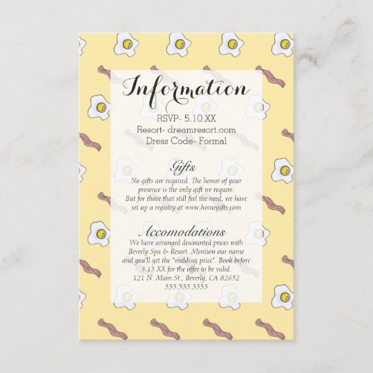 Eggs and Bacon Breakfast Foodie Funny Pattern Enclosure Card