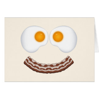 Eggs and Bacon Grin Greeting Card- With Greeting