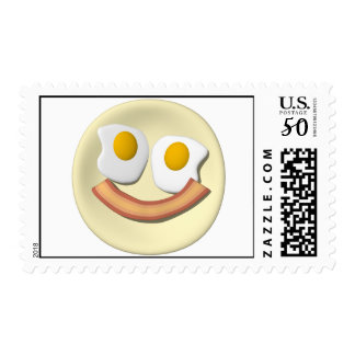 Eggs and bacon smiley face . postage