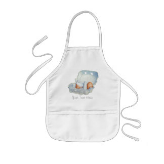 Eggs and broken eggshell in egg box still life art kids' apron