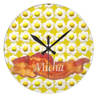 Eggs & Bacon Breakfast Monogram Large Clock