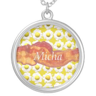 Eggs & Bacon Breakfast Monogram Necklace