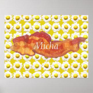 Eggs & Bacon Breakfast Monogram Poster