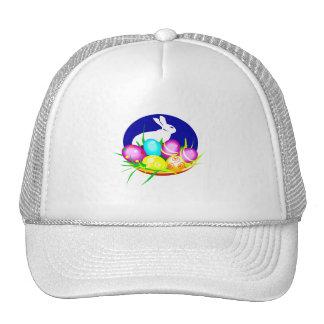 Eggs bunny blue oval graphic.png trucker hat