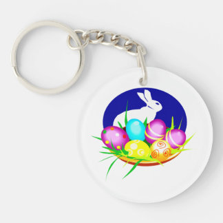 Eggs bunny blue oval graphic.png keychain