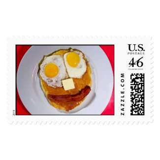 EGGS BUTTER BACON PANCAKE FACE stamp