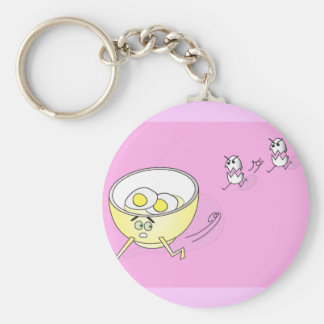 Eggs Chasing a Bowl Keychain