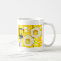illustration, yellow, cooking, fried, design, funny, egg, pop, food, cute, breakfast, colorful, happy, eat, food groups, Caneca com design gráfico personalizado