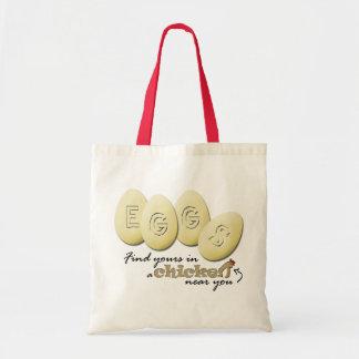 Eggs el tote del lema bolsa tela barata