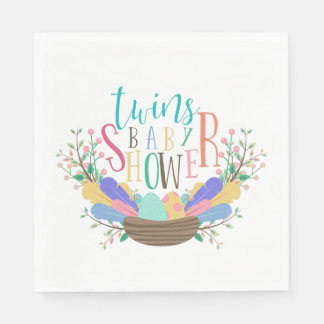 Eggs & Feathers Twins Baby Shower Napkin