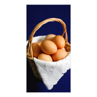 Eggs in a basket photo card