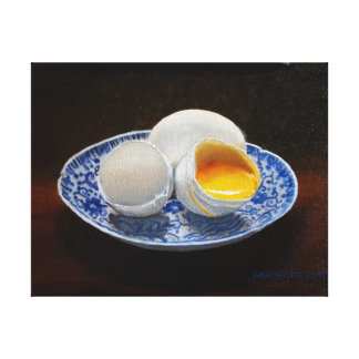 Eggs on Chinese Rice Plate Original Oil on Panel Canvas Print