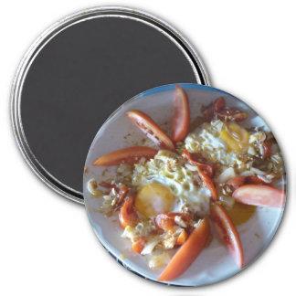 Eggs ranchero round refrigerator magnet