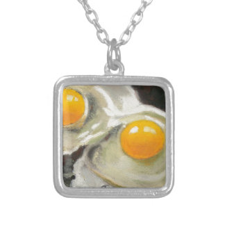 Eggs Still Life, Oil Pastel, Raw Egg Yolks Silver Plated Necklace