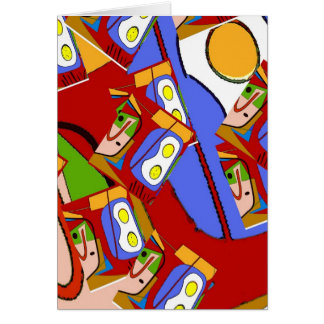 Eggs Up Abstract Repeat Card