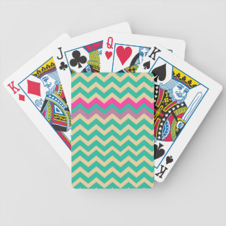 Eggshell and Teal Chevron With Colorful Border Bicycle Playing Cards