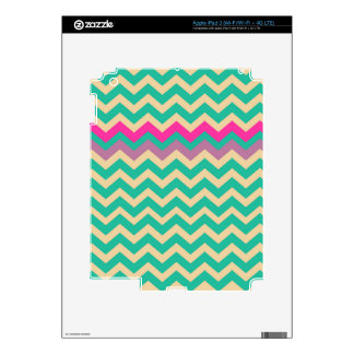 Eggshell and Teal Chevron With Colorful Border iPad 3 Skins