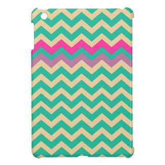 Eggshell and Teal Chevron With Colorful Border iPad Mini Case