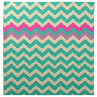 Eggshell and Teal Chevron With Colorful Border Napkin