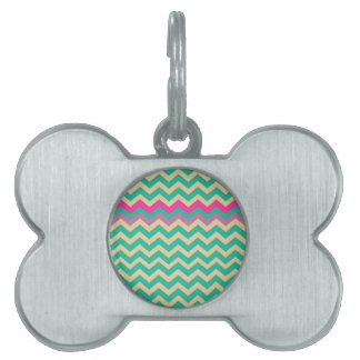 Eggshell and Teal Chevron With Colorful Border Pet ID Tag