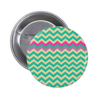 Eggshell and Teal Chevron With Colorful Border Pinback Button