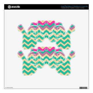 Eggshell and Teal Chevron With Colorful Border PS3 Controller Decals