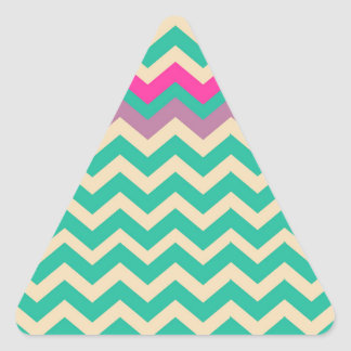Eggshell and Teal Chevron With Colorful Border Triangle Sticker