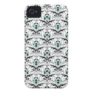 Eggshell Blue And Black Damask Pattern Case-Mate iPhone 4 Case