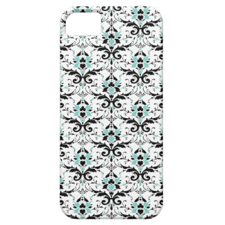 Eggshell Blue And Black Damask Pattern iPhone SE/5/5s Case