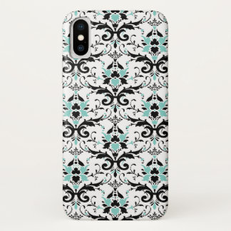 Eggshell Blue And Black Damask Pattern iPhone X Case