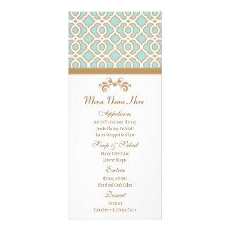 Eggshell Blue and Gold Moroccan Menu Custom Rack Card