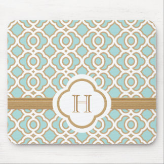 Eggshell Blue and Gold Moroccan Monogrammed Mouse Pad