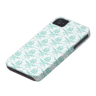 Eggshell Blue and White Damask Pattern iPhone 4 Case