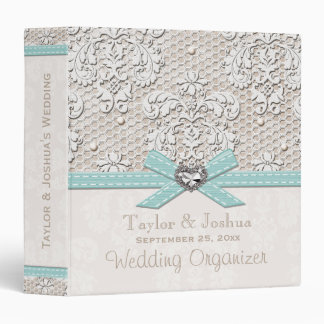 Eggshell Blue Antique Lace Pearls Wedding Planner Binder